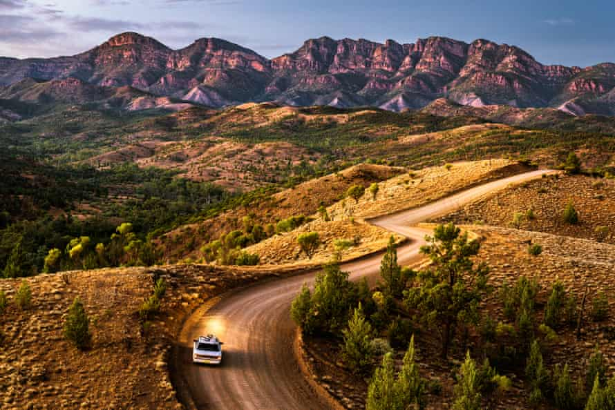 Car driving in Bunyeroo Valley, South Australia