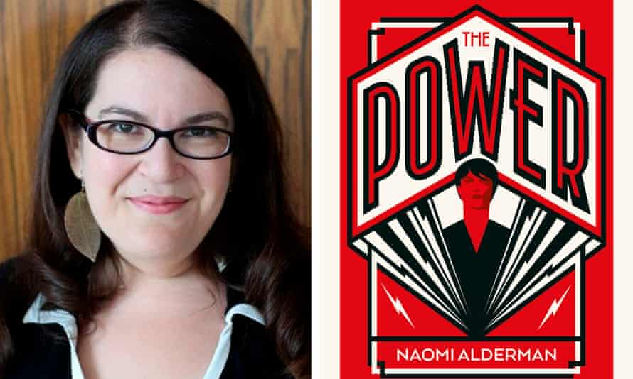 Naomi Alderman with the cover of her sci-fi thriller, The Power.