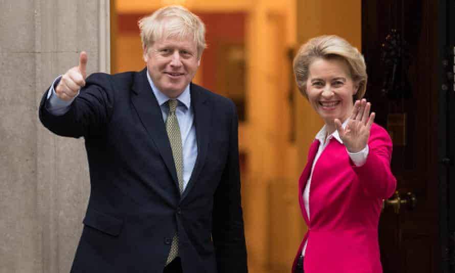Boris Johnson and Ursula von der Leyen in January.