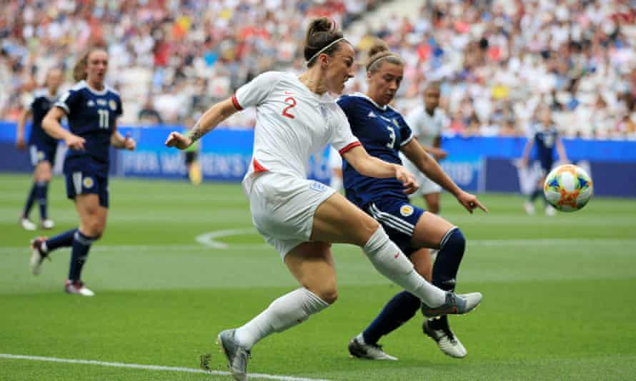 England's Lucy Bronze and Nicola Docherty of Scotland during last year's World Cup, which generated huge interest