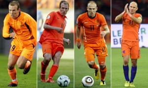 From left to right: Arjen Robben making his debut against Portugal in 2003; playing at the 2006 World Cup; and at the same tournament four years later; saying farewell to the home fans on Tuesday night. Shaun Botterill/Getty Images; Stewart Kendall/Allstar Picture Library; Richard Sellers/Allstar Picture Library; Revierfoto/Action Press/Rex/Shutterstock
