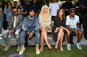 Tyga, Kylie Jenner, Carine Roitfeld and Pharrell Williams attend the Kanye West Yeezy Season 4 fashion show in New York