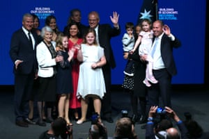 Scott Morrison, Michael McCormack, Josh Frydenberg and their families on stage after the Liberal campaign launch
