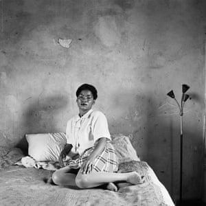 Miriam Diale in her bedroom, 5357 Orlando East, Soweto, October 1972.