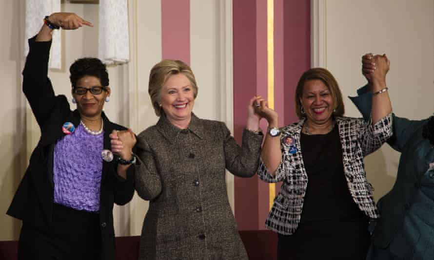 Hillary Clinton Discusses Gun Violence At Milwaukee ChurchMILWAUKEE, WI - MARCH 29: Democratic presidential candidate Hillary Clinton (C), Annette Holt (R), and Geneva Reed-Veal (L) join hands at a Community Forum on Gun Violence Prevention held at Tabernacle Baptist Church on March 29, 2016 in Milwaukee, Wisconsin. Clinton is campaigning in Wisconsin ahead of the state's April 5th primary. (Photo by Darren Huack/Getty Images)