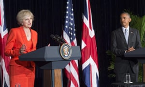Theresa May and Barack Obama during their press conference in Hangzhou.