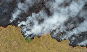 Smoke rises from a deforested plot of the Amazon jungle in Brazil