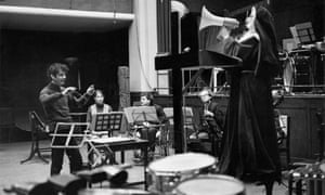 February 1968: Peter Maxwell Davies (left) conducts Welsh soprano Mary Thomas in a rehearsal of Revelation And Fall.
