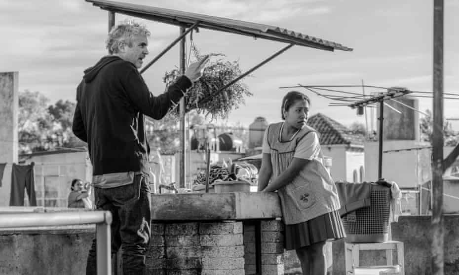 Alfonso Cuaron directing Yalitza Aparicio in Roma