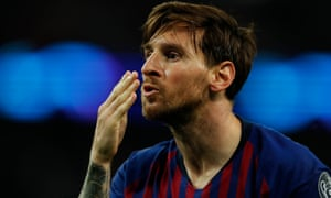 Lionel Messi blows a kiss to the travelling Barcelona fans at Wembley after scoring their fourth and final goal.