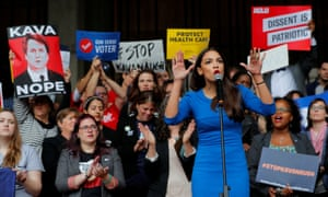 Alexandria Ocasio-Cortez, one of the new wave of female Democratic congressional candidates, speaks at a rally against Brett Kavanaugh in Boston.