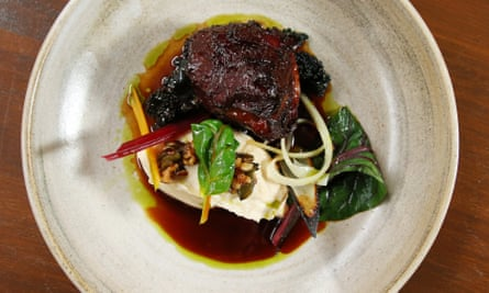 'Deep glazed': beef cheek and cauliflower purée.