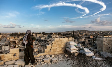 Kobane, Syria, March 2015. A member of the Women's Protection Unit defends the city.