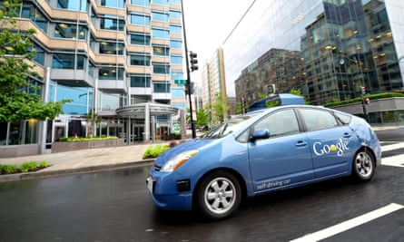 A Google self-driving car maneuvers through the streets of in Washington DC. More than half of Americans worry about the technology.