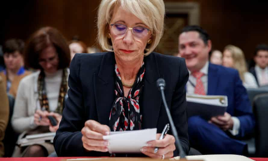 Betsy DeVos testifies on the proposed 2020 budget for the education department, on Capitol Hill in Washington DC Thursday.