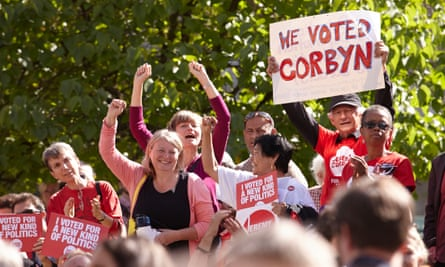 Supporters celebrate moments after it was announced that Corbyn had won the Labour leadership election.