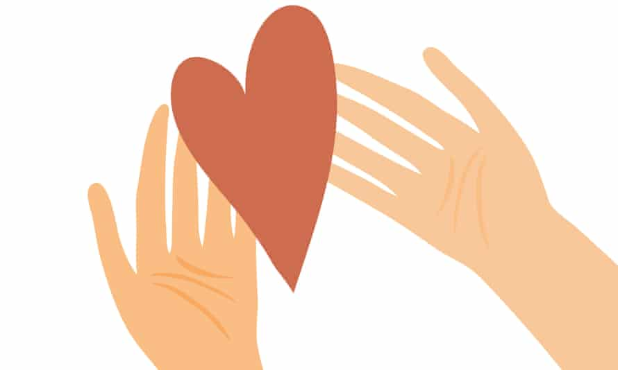 Illustration of hands with heart.