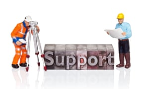 Handpainted figurines as workers with the word Support in old metal letterpress