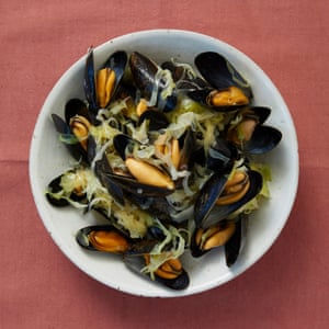 James Lowe's mussels with cider butter and hispi cabbage.