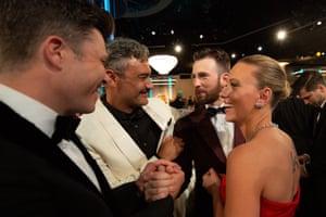 Colin Jost, Taika Waititi, Chris Evans and Scarlett Johansson