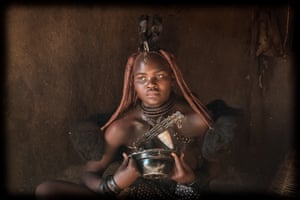 By Michelle Kathleen Dawn Blaken. While travelling through Namibia I visited a Himba tribe camp. I was privileged enough to be invited to witness this woman cleansing herself with camphor smoke. The women maintain their cleanliness by covering their body with clay and wafting themselves with camphor and other herbal smoke.