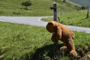 Ariege, France: A teddy bear is hanged as protestors gather on the first day of a demo against bears around Lers pond