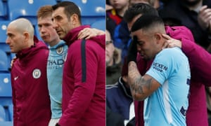 Kevin De Bruyne and Gabriel Jesus suffered worrying looking injuries in Manchester City's dramatic draw against Crystal Palace.
