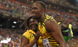 Usain Bolt with his mother, Jennifer, after the 2015 world championship 100m final.