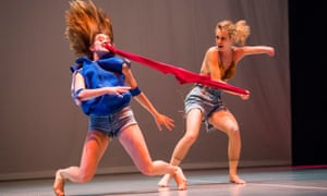A scene from Face In by Yasmeen Godder part of the double bill by Candoco Dance Company at Sadler's Wells, London.