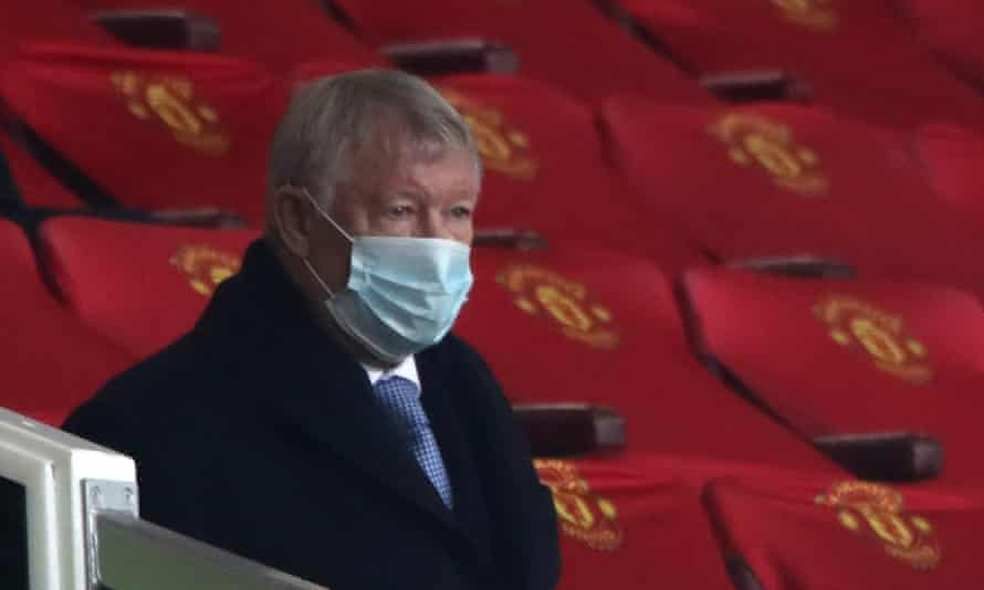 Sir Alex Ferguson watching match between Manchester United and Leeds United at Old Trafford in December