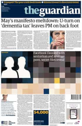 Guardian front page, 23 May 2017.