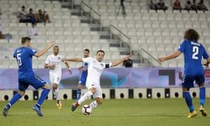 Xavi stretches to reach the ball during Al Sadd's sparsely attended Qatar Stars League thrashing of Al Kharaitiyat in Doha.