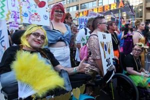 Members of the Disability Australia float make their way along Oxford Street