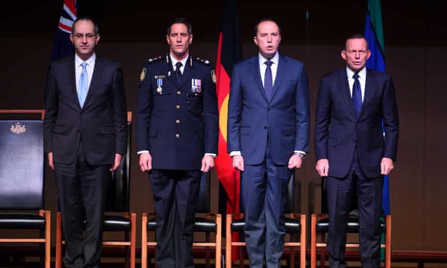 (From left) Department of Immigration secretary Mike Pezzullo, Australian Border Force commissioner Roman Quaedvlieg, immigration minister Peter Dutton and prime minister Tony Abbott.