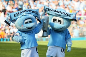 Moonbeam and Moonchester celebrate after Manchester City win the league in 2018.