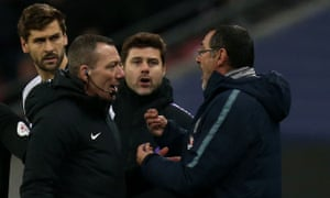 Maurizio Sarri (right) complains to the fourth official during Chelsea's defeat.