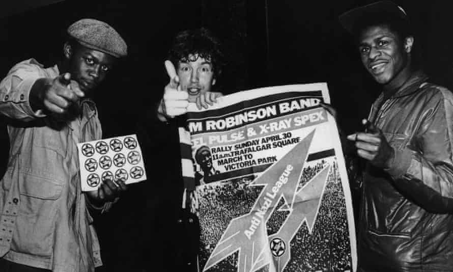 Tom Robinson and two members Steel Pulse promote an Anti-Nazi League rally in London in 1978.