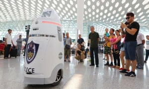 AnBot, China's first smart police robot, which went on patrol at Shenzhen Baoan airport, Guangdong, in September 2016.