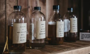 Samples of Clynelish whiskey inside Brora Distillery, Scotland.
