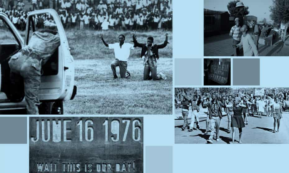 Composite of images related to the Soweto uprising