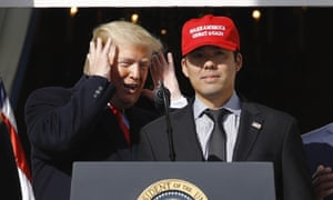Donald Trump with Washington Nationals catcher Kurt Suzuki during a ceremony at the White House to celebrate the team's championship