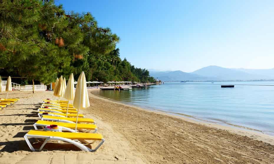 Empty beach at the Turkish resort of Fethiye. Resorts, such as Fethiye, Kemer and Belek are struggling for tourism as much as Turkey's major cities