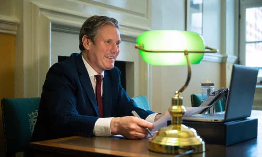"""Call Keir"": the opposition leader Keir Starmer holds his first virtual meeting with former Labour voters from a room by his office at Portcullis House, next to the Houses of Parliament."