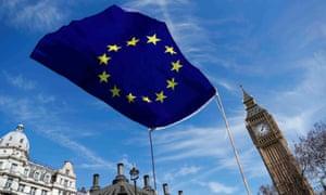 An EU flag flies above Parliament Square in London.