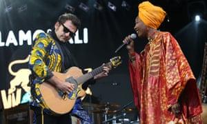 Matthieu Chedid, known as -M-, and Fatoumata Diawara of Lamomali at last year's Womad
