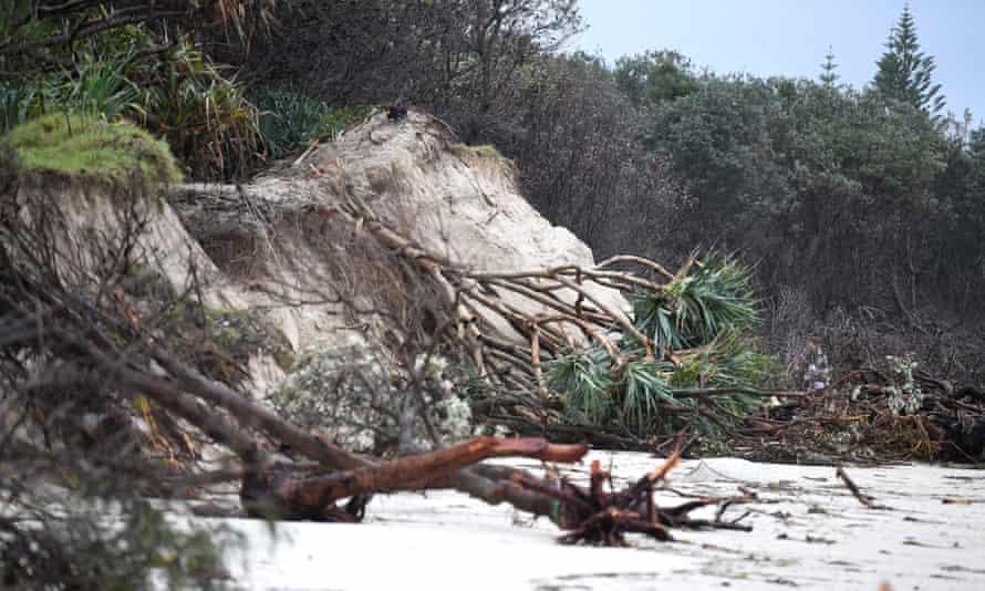 An erosion-damaged beach at Byron Bay.