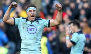 Scotland's Jamie Ritchie celebrates after the final whistle.