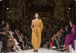 Paris, France. Model Hyunji Shin walks the runway during the Stella McCartney show at Paris fashion week