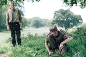 Toby Jones and Mackenzie Crook in Detectorists, filmed in countryside around Framlingham, Suffolk.