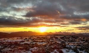 A summit at sunset